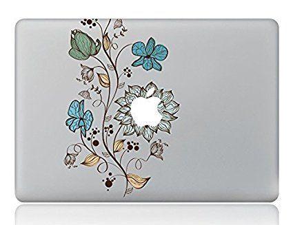 "Boiling Glacier Colorful Flower Vine Pattern Laptop Decorative Sticker Removable Vinyl Decal Designed for Apple Macbook Air Macbook Pro 13"" 15"" 17"""