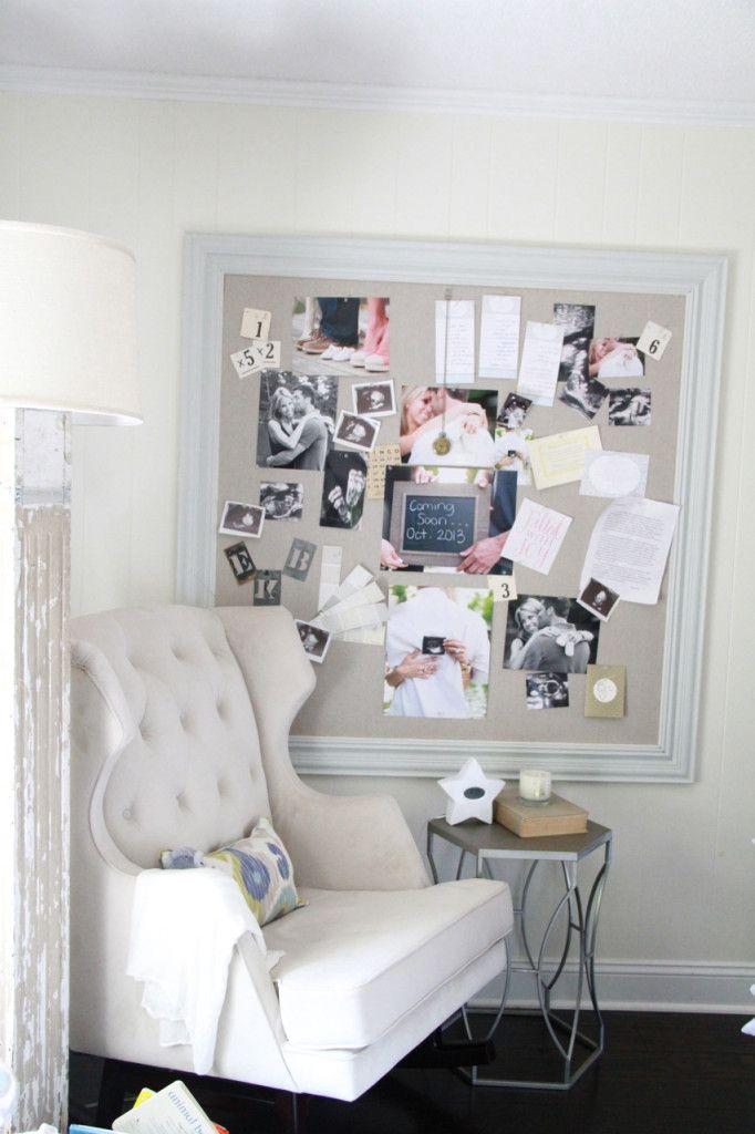 Framed Fabric Pin Board - great idea for the nursery!
