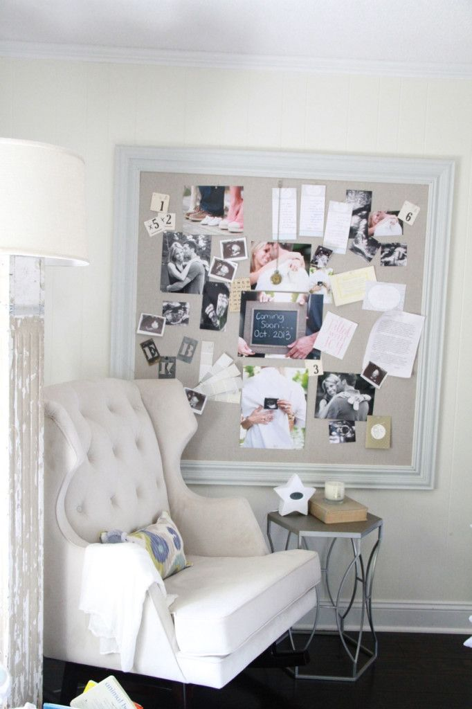 Framed Fabric Pin Board - great idea for the nursery!