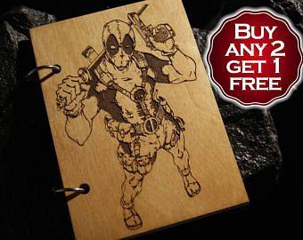 Deadpool wooden notebook / Deadpool notebook / sketchbook diary / Deadpool journal / travelbook / Deadpool gift