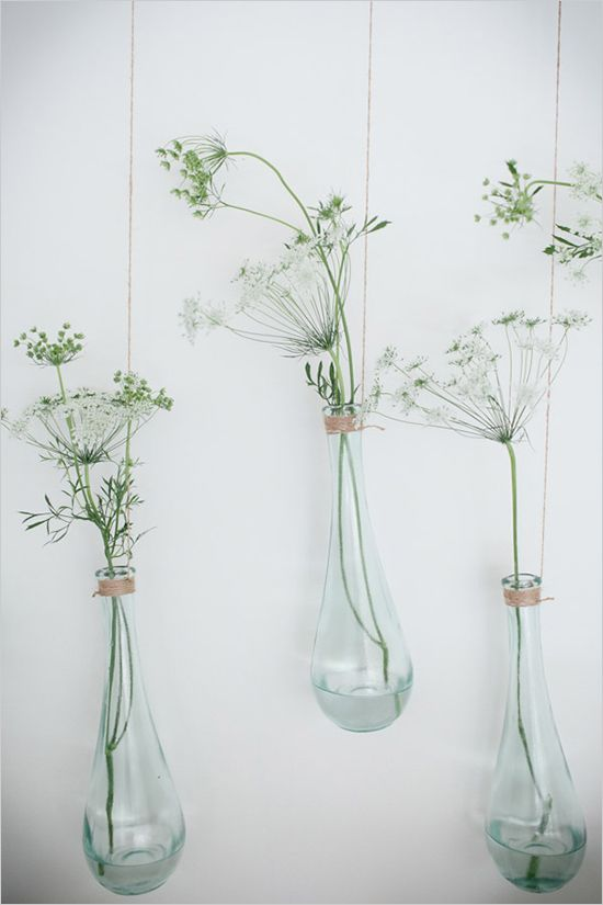 "Hanging Vases on a Branch with Queen's Anne's Lace, by Kim Fisher Designs ♥ Source: ""Wedding Chicks"" http://www.weddingchicks.com/ Photo: Theo Milo"