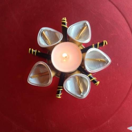 Etoile porte bougie chauffe plat, déco de table, capsules nespresso