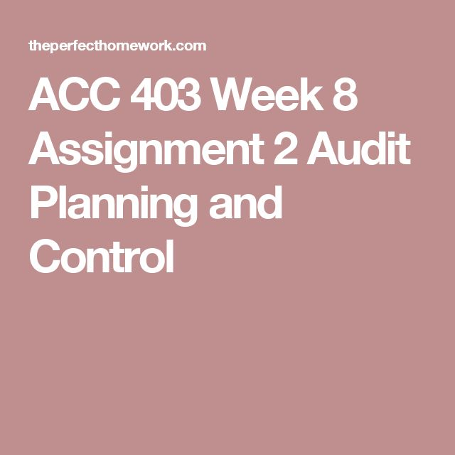 ACC 403 Week 8 Assignment 2 Audit Planning and Control