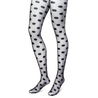 Women's Tights Large Dot Black M/L - Xhilaration