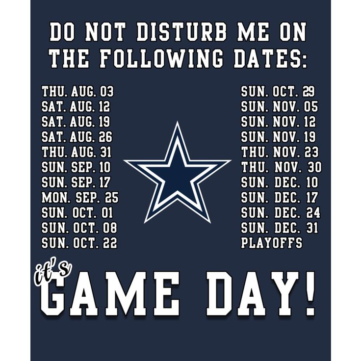 GAME DAY STICKERS! BUY NOW => Fanprint.com/dallas-cowboys-its-game-day?ref=6407 Set of 4 Stickers for $12.50 including S&H.  Dallas Cowboys Schedule 2017