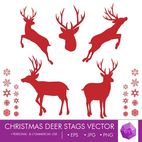 Christmas Deer Stags Silhouette Vector 5x5 inch 10 png, eps, by oyedesign