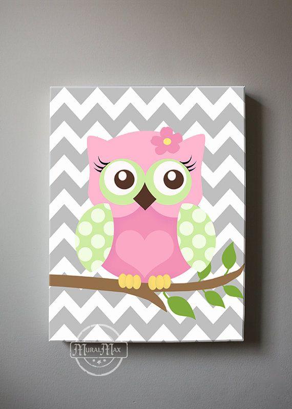 Girls wall art OWL canvas art Baby Nursery Art Owl by MuralMAX