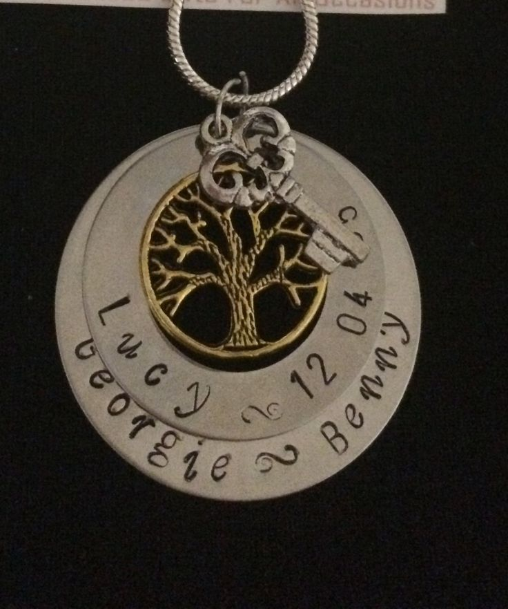 Double Tree and key Pendant Personalised Hand Stamped Necklace by Giftitright on Etsy