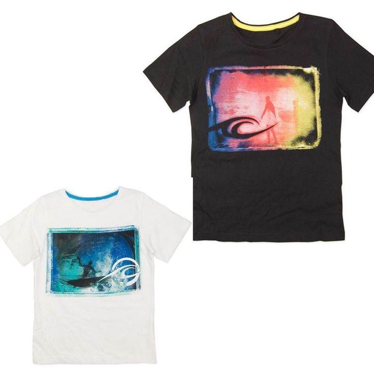 Sz 8 10 12 14 Boys WAVE ZONE Black White T Shirt Tee Surf Multi Cotton Wave