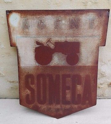 Plaque/panneau AGENT SOMECA/tôle/tracteur agricole/old french tractor plate/