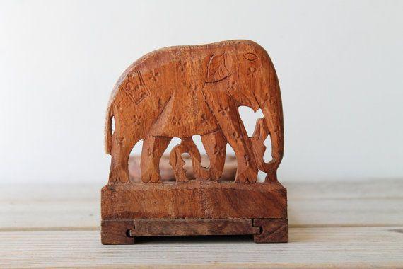 Boho carved vintage wooden elephant book holder / sliding book