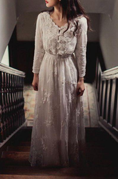 Vintage V Neck Long Sleeve Pure Color Women's Maxi Dress