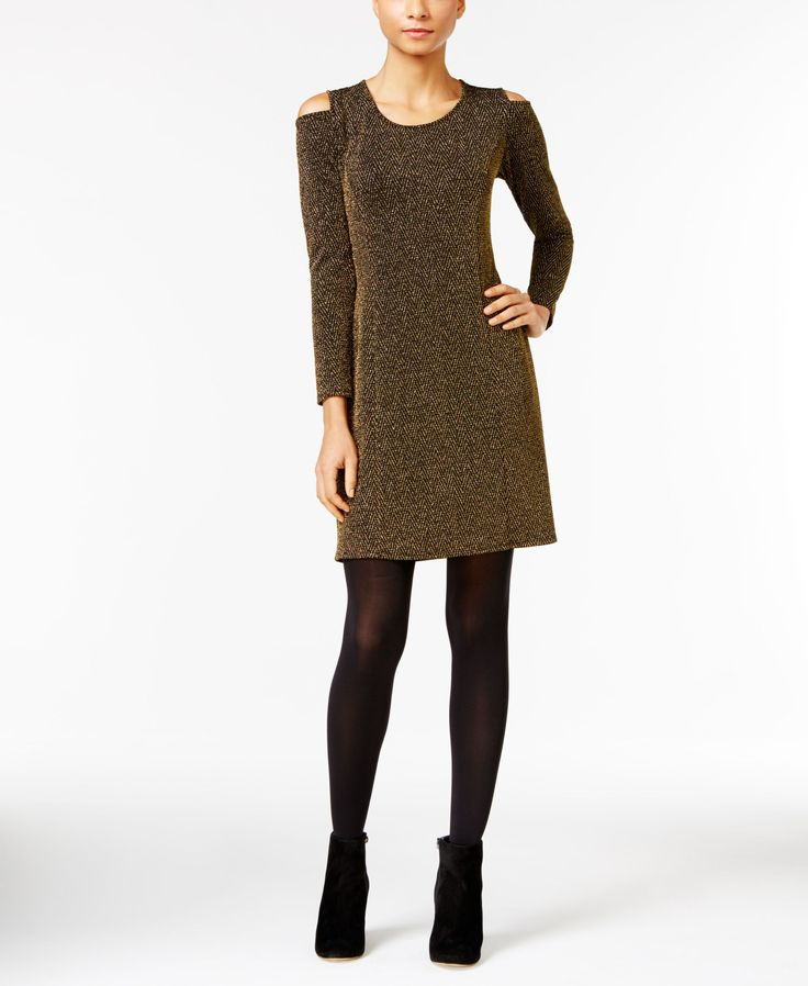 Ny Collection Petite Metallic Cold-Shoulder Dress