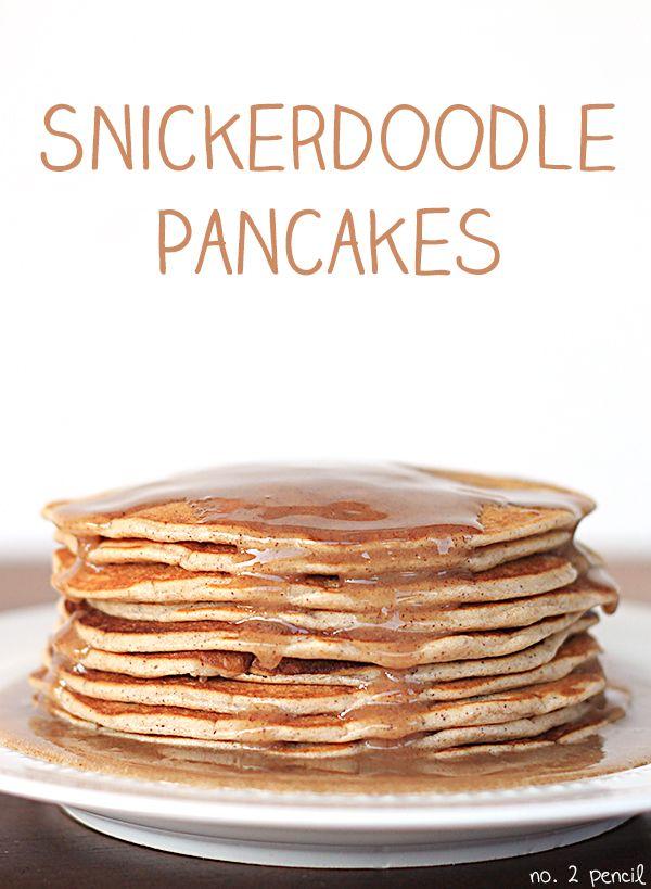 Snickerdoodle Pancakes with warm cinnamon vanilla glaze!
