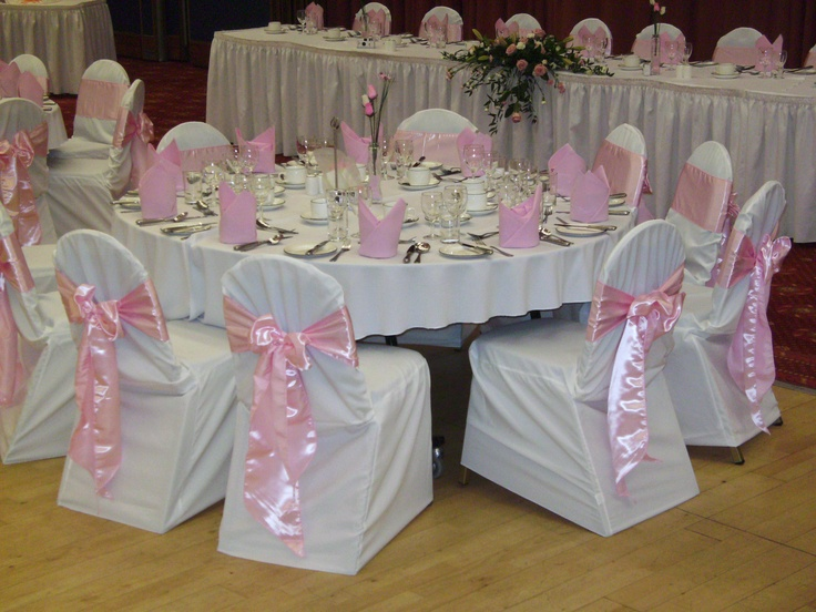 Baby Pink Satin Bows on White Chair Covers