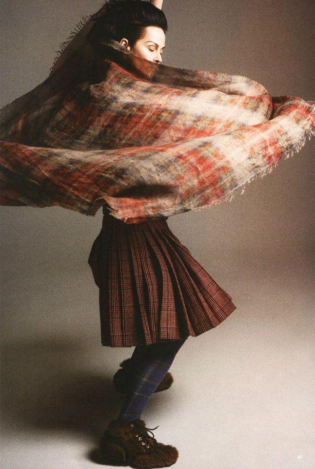 Beautiful tartan - LADY AMANDA HARLECH BY CEDRIC BUCHET FOR 10 MAGAZINE SUMMER 2013