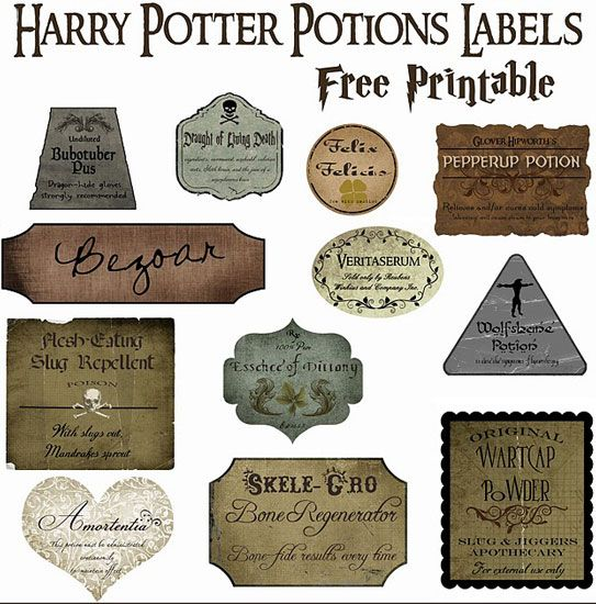 Harry Potter potions. I so could have used this for last year's Halloween party. But there's always next year!