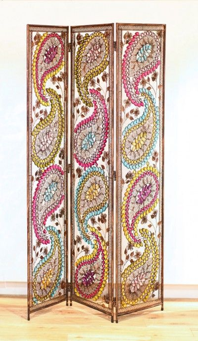 Arabian Nights Metal Screen  (008198) - Arthouse Room dividers - A beautiful Arabian style metal paisley design created using pink blue and yellow jewels. A room divider or screen consisting of three panels. Overall size 120 x 170 cm.