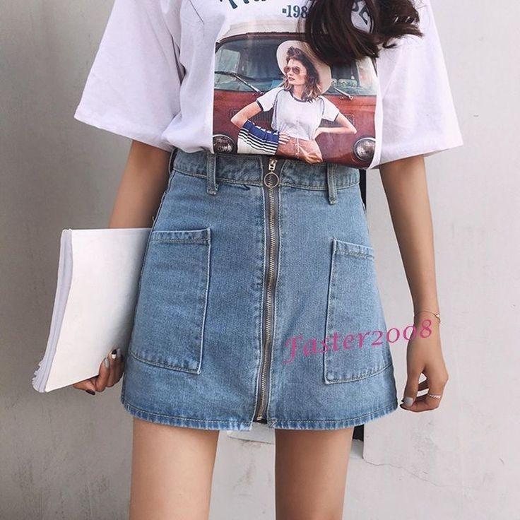 Fashion Womens Girls Denim Zipper Mini A-Line Skirts High Waist Short Jean Skirt