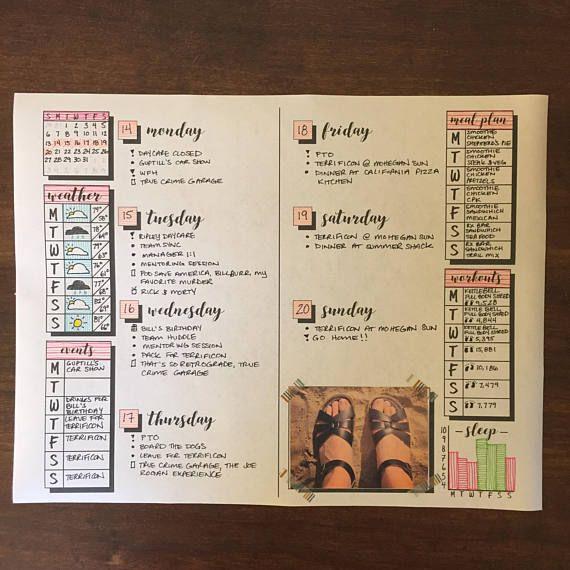 Bullet Journal template printable planner weekly layout bujo