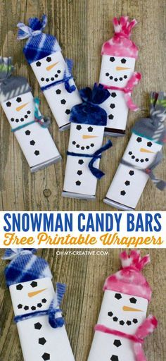 Adorable Snowman Candy Bar Treats with Snowman Free Printable candy bar wrapper template - a perfect kids treat for friends, classroom treat or stocking stuffer - a great Christmas kids craft too! OHMY-CREATIVE.COM | #snowman #snowmancandybarwrapper #stockingstuffer #snowmancrafts #snowmanchristmas #Frosty #candybartemplate #homemadechristmasgift #snowmangift #candybarwrapper
