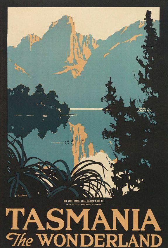 Du Cane Range And Lake Marion Tasmania Australia Travel Posters Vintage Poster Art Tasmania