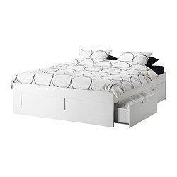 Cheap and cover the ugly with a super long bedskirt. Perfect. BRIMNES Bed frame with storage - Queen - IKEA