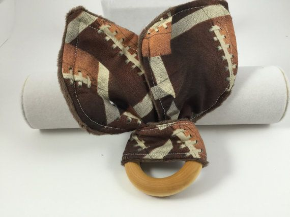 Brown football teething ring teether by DaniSaysSew on Etsy