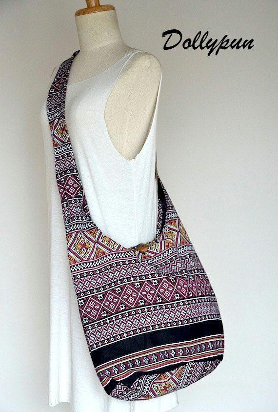 Traditional Thai Patterns / BLACK / Ethnic Hippie Purse and Fashion Cross Body Bag / Boho Hobo Messenger Bag SSS102