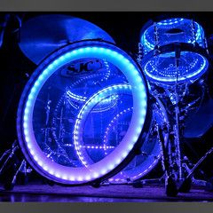 SJC Custom 12/16/22 3pc Clear Acrylic Kit w/ Wood Hoops and LED Lighting