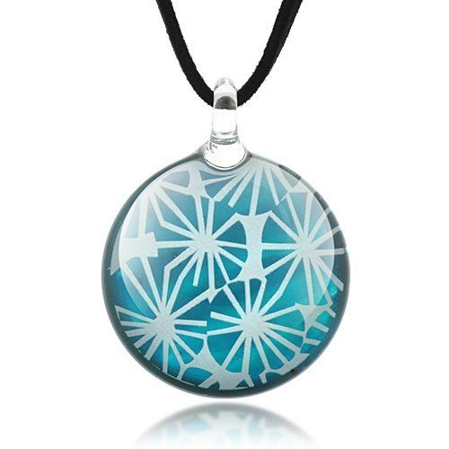 Hand Blown Venetian Murano Glass Lotus Leaves Blue and White Round Puff Pendant Necklace 18''-20''- Fashion Jewelry for Women, Teens Chuvora. $14.99. Weight: 18.7 g.. Pendant size: 3.5 x 4 cm, Necklace length: 18''-20'' (2'' extension chain). Matching earrings available as a complete set. Please search Amazon for ER0350BLU. Made from 925 Sterling Silver Ear Wire, hand blown glass with enamel finish backing.. Packaging: Black Velvet Pouch. Save 63%!