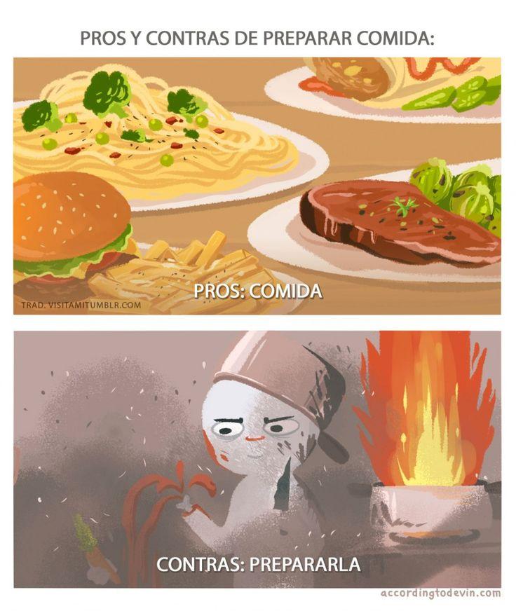 Pros y contras de preparar comida. #humor #risa #graciosas #chistosas #divertidas
