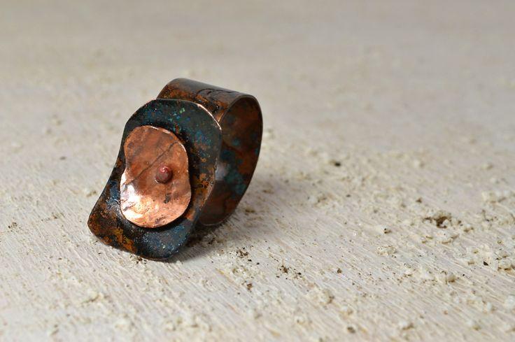 Unique Copper ring adjustable copper rectangular element Slightly adjustable marsala gift for her anniversary gift primitive coarse ring di Violanima su Etsy