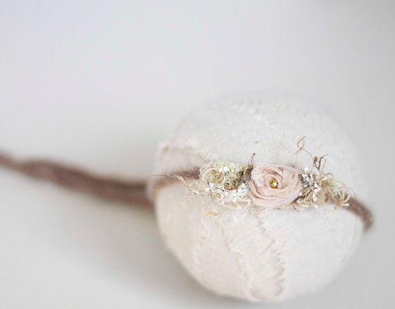 Newborn Tieback Headband. Organic Tieback Headband. Floral. Blush. Pink. Brown. Photography Prop. Moss. FRANCESCA. Tolola Design