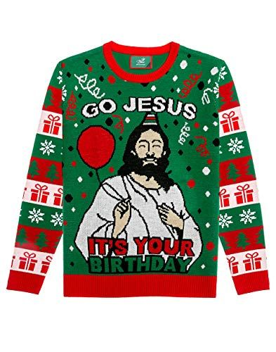 c8168a2b7c1fe Tstars - Go Jesus It s Your Birthday Funny Men Women Ugly Christmas Sweater