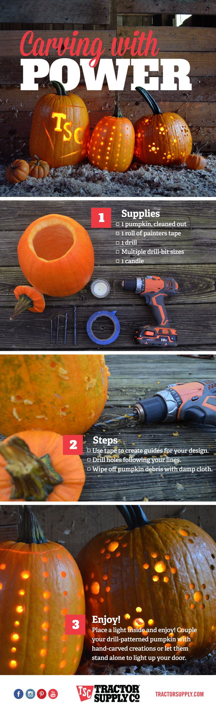 Try this new twist on a fall tradition! Carve your pumpkins with power tools in 3 easy steps.