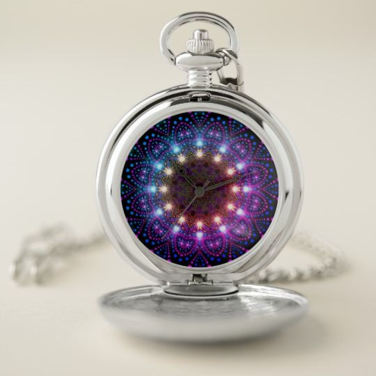 Pretty Colors Lights Mandala Pocket Watch
