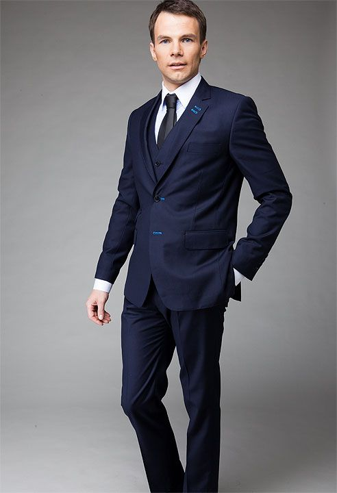 Blue navy three piece suit