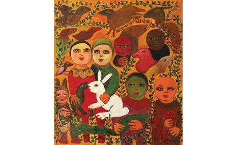 Mirka Mora, 'The White Rabbit and Family', 2004