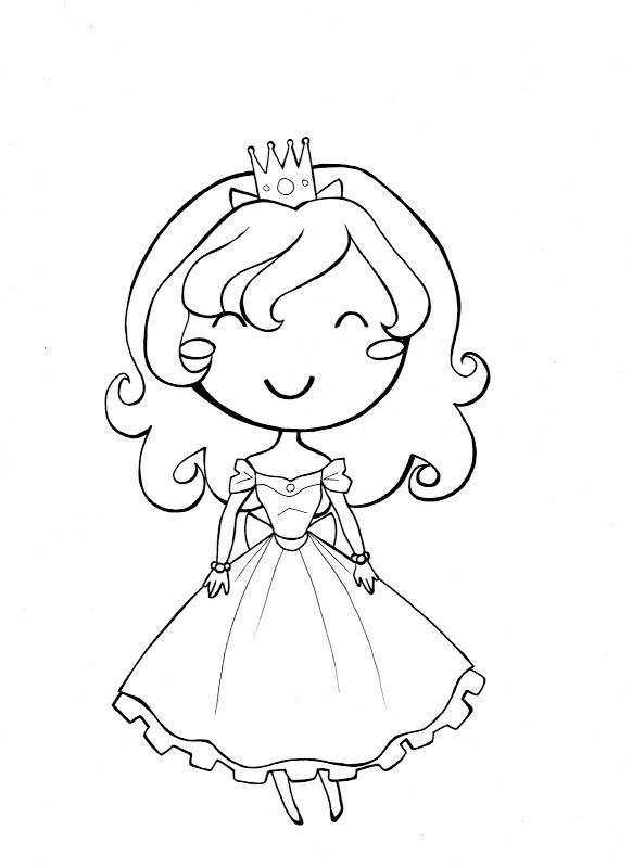 Princess Coloring Pages Spot : Little girl princess coloring page g book