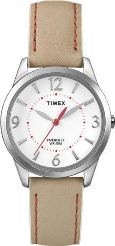 Timex Women's T2N861 Weekender Beige with Coral Stitching Leather Strap Watch Timex. $36.95. Water-resistant to 30 meters. Indiglo® night-light. Genuine Leather Strap. Water-resistant to 99 feet (30 M). Brushed/Polished Chrome Finish
