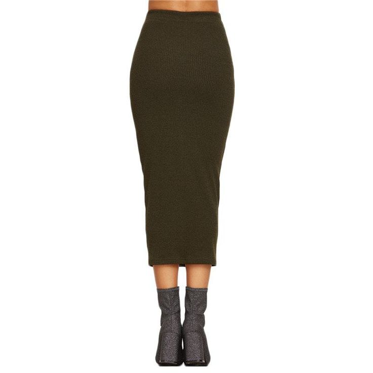 Long Knit Pencil Skirt