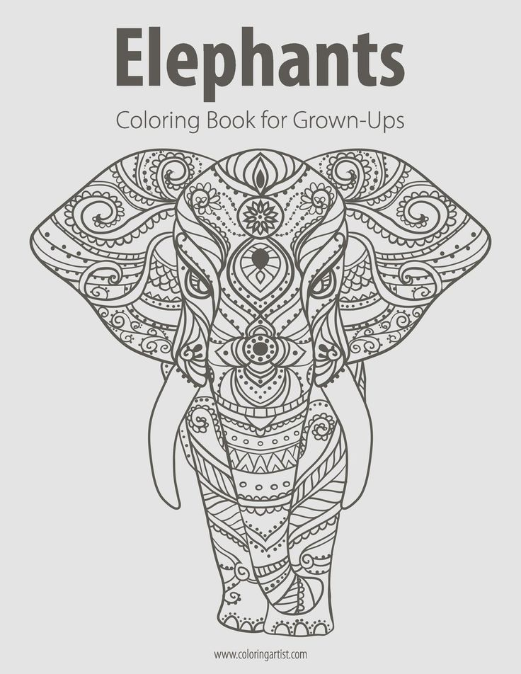Elephants Coloring Book For Grown Ups 1 By ColoringArtist