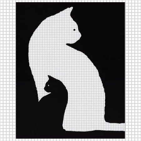KITTEN BLACK WHITE CAT CROCHET PATTERN GRAPH AFGHAN CROSS STITCH .PDF: