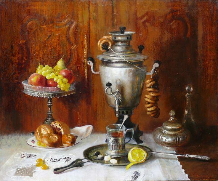 Still life with russian samovar and fruit dish , Snezhana Slavova