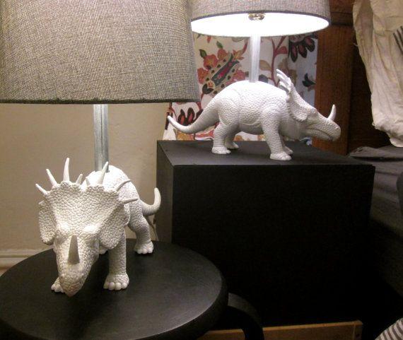 Modern dinosaur lamp in glossy white and gray linen by thenutmeg