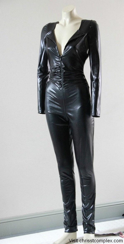 Catsuit Black PVC Latex Look Gothic Goth Catwoman Kawaii Lolita - Chrisst's black pvc catsuit. Chrisst Unique Fashion. $198.00, via Etsy.