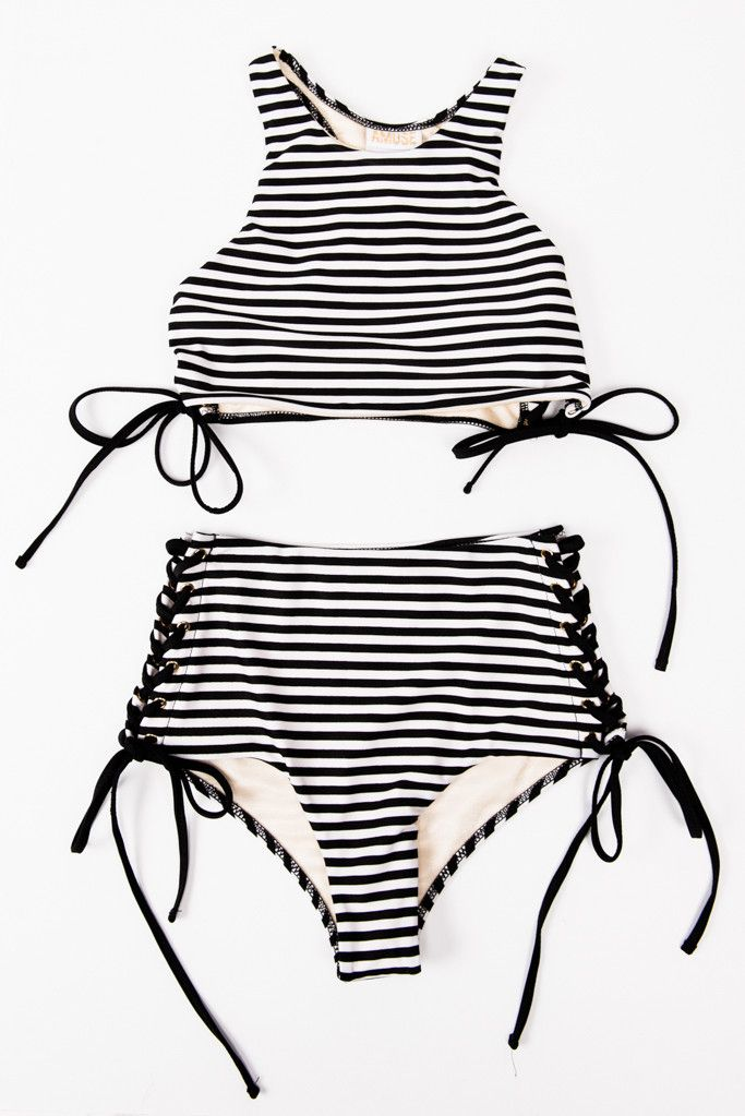 Amuse Society Striped, lace-up, high wasted bikini...loving this swim suit!