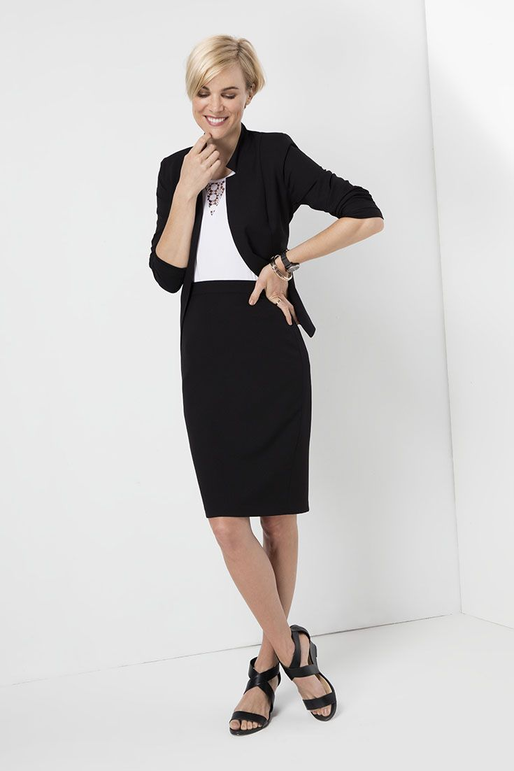 Mix it. Match it. The classic pencil skirt and blazer worn with a white tank with lace inset. #monochrome
