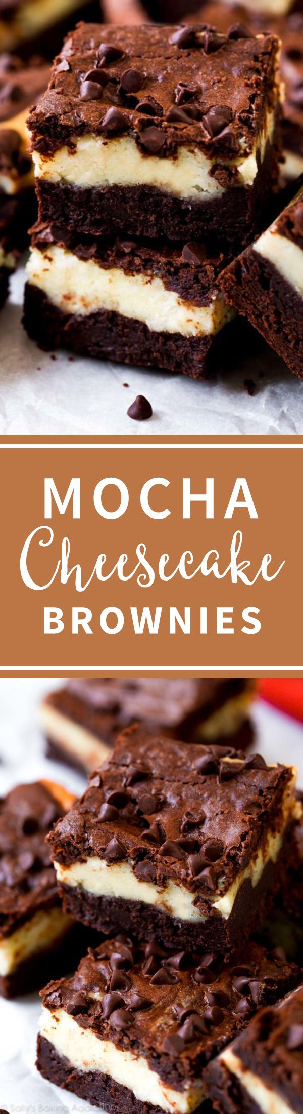 Mocha cheesecake brownies are easy, fudgy, delicious, and layered cheesecake brownies! Recipe on sallysbakingaddiction.com